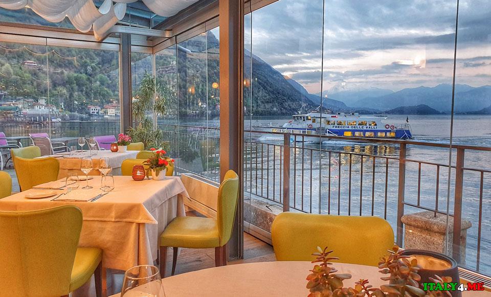 Ужин в отеле с видом на озеро Комо