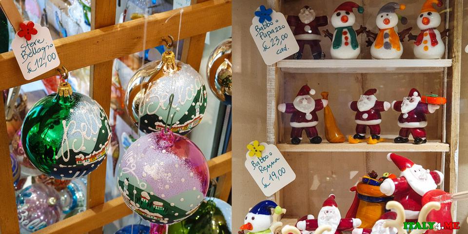 Стоимость новогодних украшений из итальянского стекла в городе Белладжо