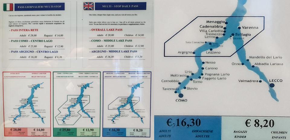 Стоимость билетов на кораблик на озере Комо
