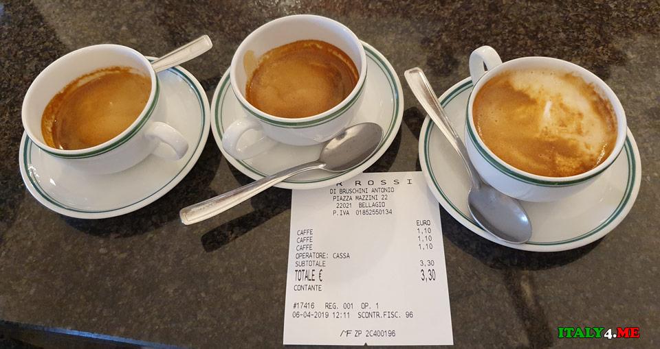 стоимость кофе в баре Rossi, город Белладжо