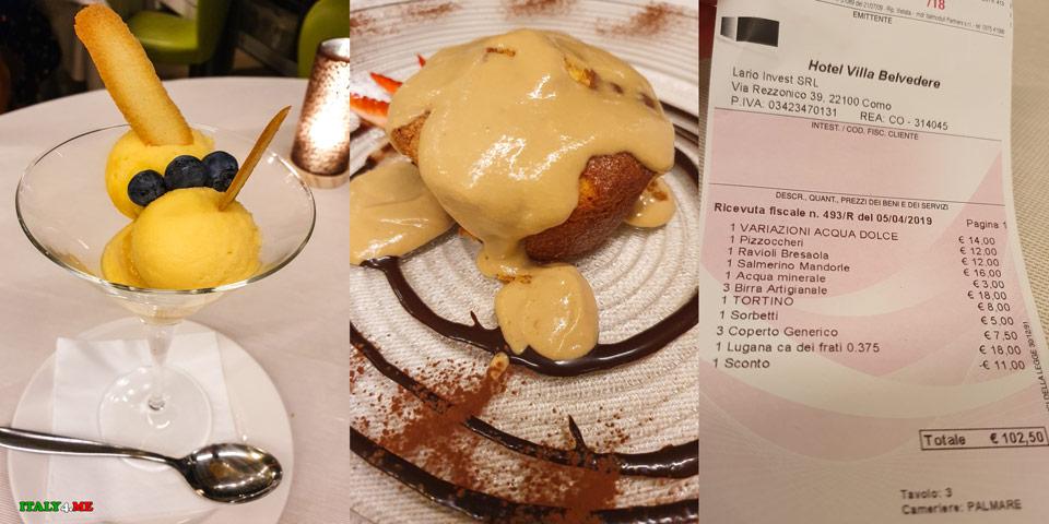 десерт на ужин в ресторане Villa Belvedere Арженьо