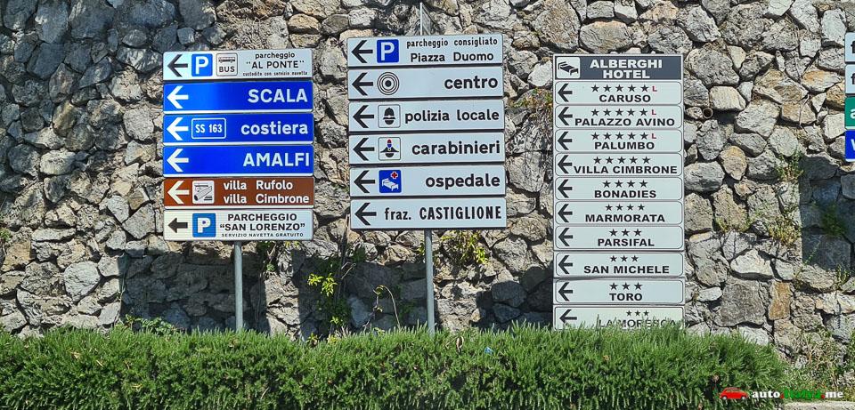 Дорожные знаки в Равелло