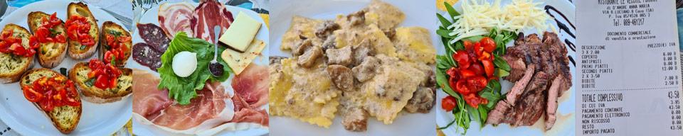 Блюда и счет за ужин в ресторане Le Vecchie Fornaci Кава-де-Тиррени