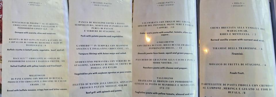 Меню ресторана в отеле Scapolatiello Кава-де-Тиррени