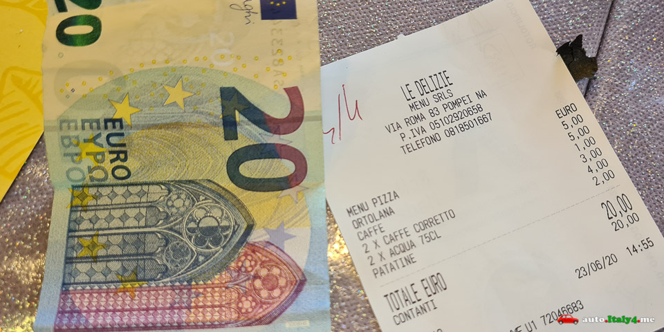 Счет за обед в ресторане в Помпеях