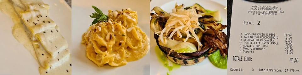 Блюда и счёт за ужин в ресторана при отеле Scapolatiello в Кава-де-Тиррени